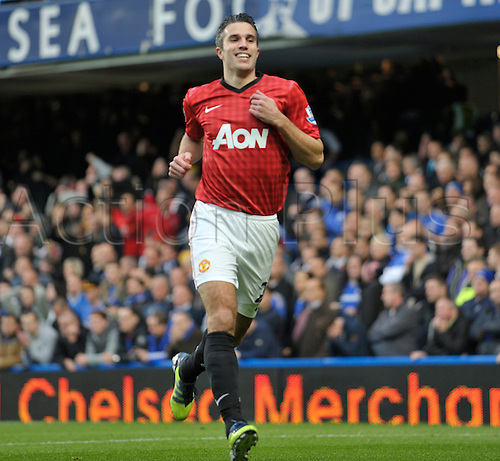 28.10.2012 London, England. Manchester United's Robin Van Persie celebrates his goal for Manchester United during the Premier League game between Chelsea and Manchester United at Stamford Bridge.