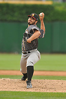 Quad Cities River Bandits pitcher Humberto Castellanos (36) throws a pitch against the Peoria Chiefs at Dozer Park on June 11, 2018 in Peoria, Illinois. The Chiefs won 1-0.  (Dennis Hubbard/Four Seam Images)