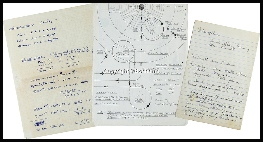BNPS.co.uk (01202 558833)<br /> Pic: Bonhams/BNPS<br /> <br /> *Please use full byline*<br /> <br /> Lot 290:  Manuscript training notes and mimeographed copies of Capt. Lewis' bomb plan and survival maneuver.  Expected to sell for &pound;3,300-5,400.<br /> <br /> Never-seen-before diagrams used to plan and execute the dropping of the world's first atomic bomb on Japan in a bid to end WWII have emerged for sale 70 years after the historic mission.<br /> <br /> The simple hand-drawn bombing plans detail exactly how and when the crew of the Enola Gay B29 bomber were to unleash their deadly payload over the port city of Hiroshima on August 6, 1945.<br /> <br /> The previously unseen documents are among a &pound;300,000 archive of material compiled by Captain Robert Lewis, co-pilot of the Enola Gay, which also includes his flight logs and report of the bombing raid.
