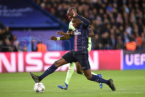 06.04.2016. Paris, France. UEFA CHampions League, quarter-final. Paris St Germain versus Manchester City.  Blaise Matuidi (PSG) challenged by Eliaquim Mangala (Manchester City)