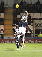 Andy Webster beats Lee Miller in the air in the St Mirren v Falkirk Scottish Professional Football League Ladbrokes Championship match played at the Paisley 2021 Stadium, Paisley on 1.3.16.