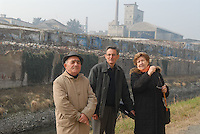- Henri Desgrange, employee of Eternit France (center), with Anna Maria Giovanola (right) and Piero Ferraris, workers of plant in Casale Monferrato, poisoned by asbestos, on the former site of the factory now dimantled<br /> <br /> - Henri Desgrange, dipendente dell'Eternit Francia (al centro), con Anna Maria Giovanola (a destra) e Piero Ferraris, lavoratori dello stabilimento di Casale Monferrato, intossicati dall'amianto, sul luogo dove sorgeva lo stabilimento, oggi smantellato
