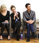 """Dana Costello, Laura Osnes and Drew Gehling during a Performance Sneak Peek of The MCP Production of """"The Scarlet Pimpernel"""" at Pearl Rehearsal studio Theatre on February 14, 2019 in New York City."""