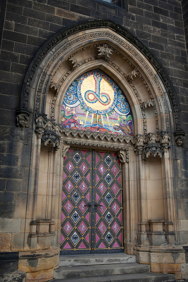 """The ornate doors of the Church of St. Peter and St. Paul in Vysehrad or the """"Castle on the heights,"""" a large fortress and park in Prague, Czech Republic, Europe"""