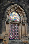 "The ornate doors of the Church of St. Peter and St. Paul in Vysehrad or the ""Castle on the heights,"" a large fortress and park in Prague, Czech Republic, Europe"