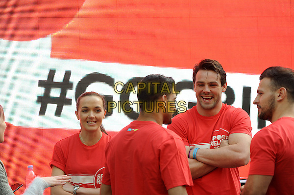 LONDON, UNITED KINGDOM - MARCH 17:  Victoria Pendleton &amp; Ben Foden at BBC Radio 1 studios for Sport Relief 'Radio Around The World' on March 17, 2014 in London, England.<br /> CAP/AOU<br /> &copy;AOU/Capital Pictures