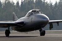Historic jet fighter de Havilland Vampire taxi to parking after a display at Rygge Airshow. Norway