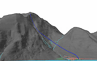 Graphic showing flight path of wingsuit jumper. Logged with GPS. © Fredrik Naumann