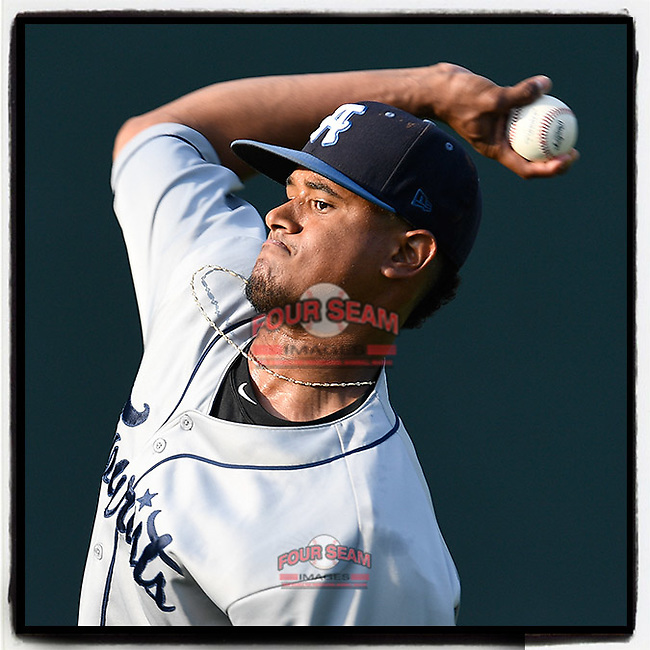 Starting pitcher Erick Julio (29) of the Asheville Tourists makes a warmup pitch before a game against the Greenville Drive on Monday, July 30, 2018, at Fluor Field at the West End in Greenville, South Carolina. Asheville won, 6-5. (Tom Priddy/Four Seam Images)