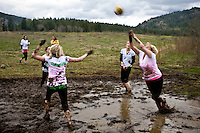 Team Goody Box, work together at Safeway in Priest River, ID competing at the 2011 Mud Volleyball Tournament in Laclede, ID sponsored by the Kodiak Bar. .(©Matt Mills McKnight/2011)