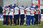 The England Team huddle at the Ireland v England One Day Cricket International held at Malahide Cricket Club, Dublin, Ireland. 8th May 2015.<br /> Photo: Joe Curtis/www.newsfile.ie