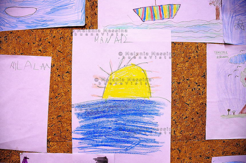 Palermo, headquarters of Emergency: kids drawings.<br /> Palermo, locali dell'ambulatorio di Emergency: i disegni dei bambini.
