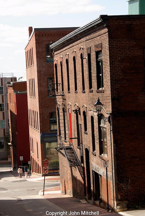 Narrow street in the city of Saint John, New Brunswick, Canada