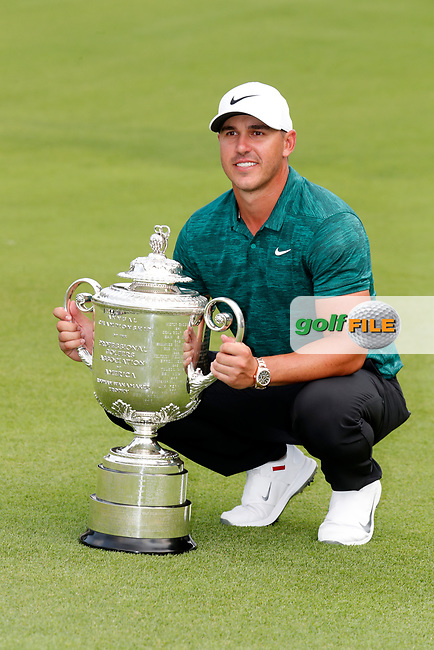 Brooks Koepka (USA) poses with the trophy after winning the 100th PGA Championship at Bellerive Country Club, St. Louis, Missouri, USA. 8/12/2018.<br /> Picture: Golffile.ie | Brian Spurlock<br /> <br /> All photo usage must carry mandatory copyright credit (© Golffile | Brian Spurlock)