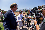ARCADIA, CA - JUNE 23:  Mike Smith is interviewed at Santa Anita Park on June 23, 2018 in Arcadia, California.(Photo by Alex Evers/Eclipse Sportswire/Getty Images)