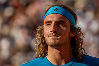 Paris, France, 2 june, 2019, Tennis, French Open, Roland Garros, Stefanos Tsitsipas (GRE) in his match against Wawrinka (SUI)<br /> Photo: Henk Koster/tennisimages.com