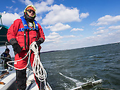 Stiv Wilson of 5 Gyres which is renowned for research on plastic pollution in the ocean's gyres preps the rigging he will use to trawl the Chesapeake Bay for polution including micro plastics. <br /> <br /> PHOTOS/John Nelson
