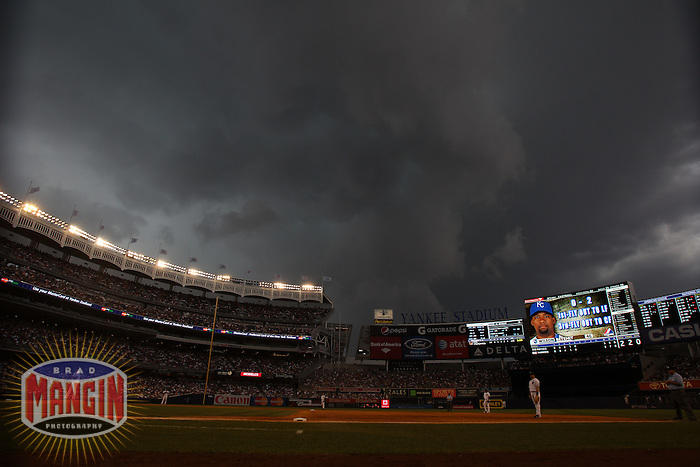 NEW YORK, NY - JULY 25:  Storm clouds gather overhead during the Kansas City Royals and New York Yankees game at Yankee Stadium on July 25, 2010 at Yankee Stadium in the Bronx borough of New York City. Photo by Brad Mangin