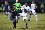 Ema Twumasi (22) of the Wake Forest Demon Deacons battles for the ball with Alexander Dexter (13) of the Pitt Panthers during first half action at Spry Soccer Stadium on September 16, 2017 in Winston-Salem, North Carolina.  The Demon Deacons defeated the Panthers 2-0.  (Brian Westerholt/Sports On Film)
