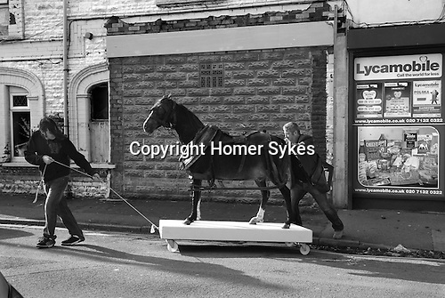Made in Roath Arts Festival 2014. Cardiff Wales. My Little Pit Pony. Artist Lee Williams takes a once real pit pony around the street of Roath. Borrowed from Cefn Coed Colliery Museum, Neath.