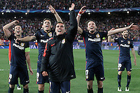 Atletico de Madrid's Gabi Fernandez, Lucas Hernandez, Antoine Griezmann, Saul Niguez and Juanfran Torres celebrate the victory in the Champions League 2015/2016 Quarter-Finals. April 13,2016. (ALTERPHOTOS/Acero) <br /> Madrid 13/4/2016 Vicente Calderon <br /> Football Calcio 2015/2016<br /> Champions League Quarti di finale <br /> Atletico Madrid - Barcellona <br /> Foto Alterphotos / Insidefoto <br /> ITALY ONLY