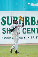 Left fielder Telvin Nash #32 of the Greeneville Astros settles under a fly ball against the Bristol White Sox at Boyce Cox Field July 2, 2010, in Bristol, Tennessee.  Photo by Brian Westerholt / Four Seam Images