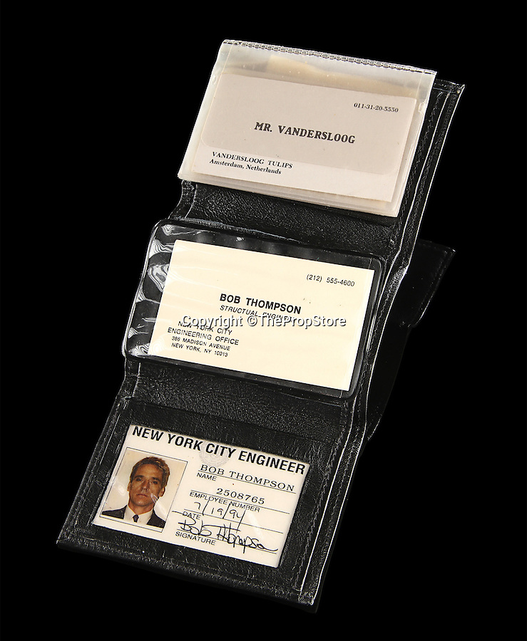 BNPS.co.uk (01202 558833)<br /> Pic: ThePropStore/BNPS<br /> <br /> Jeremey Irons Bob Thompson ID from Die Hard With A Vengence.<br /> <br /> Stop! Police! - Hollywoods finest...and funniest id badges come up for auction.<br /> <br /> The world's largest ever collection of IDs belonging to a who's who of film and TV stars is set to be auctioned. <br /> <br /> Credentials used by Hollywood royalty including Jodie Foster, Bruce Willis, Leonardo DiCaprio, Jeremy Irons, Eddie Murphy and Kiefer Sutherland are all about to go under the hammer. <br /> <br /> The lots are being sold on behalf of an anonymous collector who amassed the collection over a period of 15 years. <br /> <br /> They will be auctioned by the Prop Store in London on Tuesday, September 27.