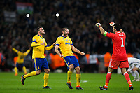 Giorgio Chiellini (centre) of Juventus and team mates Andrea Barzagli (left) and Gianluigi Buffon celebrate their victory at the final whistle <br /> <br /> Photographer Craig Mercer/CameraSport<br /> <br /> UEFA Champions League Round of 16 Second Leg - Tottenham Hotspur v Juventus - Wednesday 7th March 2018 - Wembley Stadium - London <br />  <br /> World Copyright &copy; 2017 CameraSport. All rights reserved. 43 Linden Ave. Countesthorpe. Leicester. England. LE8 5PG - Tel: +44 (0) 116 277 4147 - admin@camerasport.com - www.camerasport.com