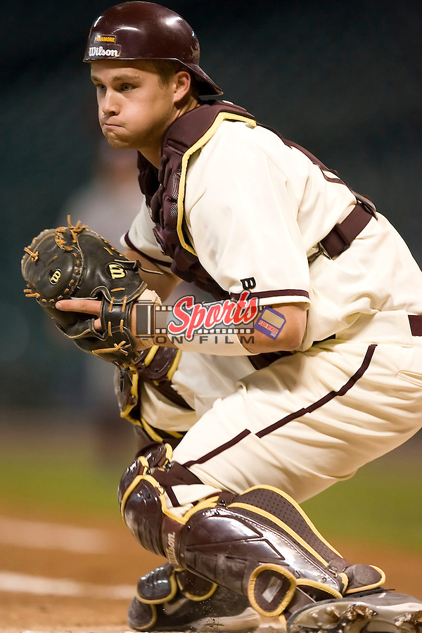 Arizona State catcher Petey Paramore (13) waits for the Texas A&M runner at home plate at the 2007 Houston College Classic at Minute Maid Park in Houston, TX, Friday, February 9, 2007.  Arizona State defeated Texas A&M 5-4.