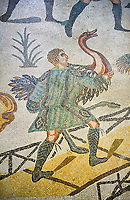 An captured Ostich from the Ambulatory of The Great Hunt, room no 28,  at the Villa Romana del Casale,  first quarter of the 4th century AD. Sicily, Italy. A UNESCO World Heritage Site.