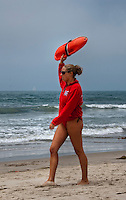 Female Lifeguard, Santa Monica,  CA, Beach, Ocean, outside, sand, sea, summer,
