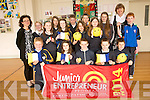Pupils at Fybough National School who made cushions to sell for their Junior Entrepreneur Project. <br /> Front L-R Lachlan Griffin, Amy Kelliher, Liam Pigott, Keith Evans and Aodhan Murphy. <br /> Middle L-R Eileen Lovett (teacher), Bridann Evans, Clodagh Evans, Jolynn Moll, Helen O'Shea and Diarmuid Kelleher. <br /> Back L-R Eleanor O'Connor, Kelly O'Shea, Oran Hillard, Dean Ladden, Dora Wynn Morgan and Angela Prendergast (principal).
