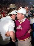 Bobby Bowden shakes hands with Gator head coach Steve Spurrier after his Florida State Seminoles defeated the Florida Gators 45-30 at Doak Campbell Stadium in Tallahassee, Florida December 1, 1990. (Mark Wallheiser/TallahasseeStock.com)