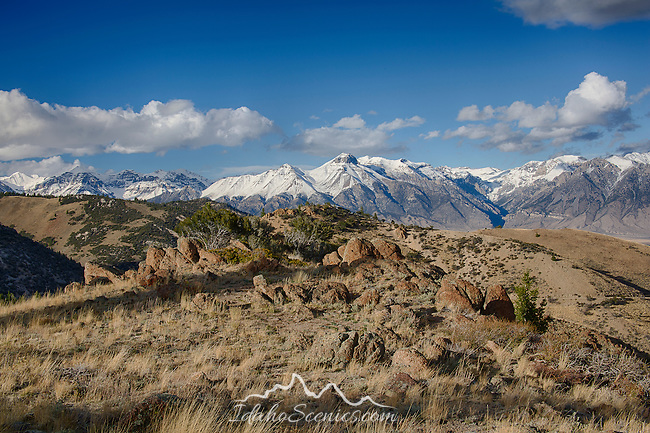 Idaho, Central, Mackay. An autumn view of the Lost River Range from the foothills of the White Knob Mountains.