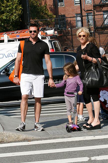 WWW.ACEPIXS.COM . . . . .  ....September 23, 2010....Actor Hugh Jackman, his wife Deborra-Lee Furness and daughter walk through Soho on September 23, 2010 in New York City.......Please byline: NANCY RIVERA - ACEPIXS.COM.... *** ***..Ace Pictures, Inc:  ..Philip Vaughan  (646) 769 0430..e-mail: info@acepixs.com..web: http://www.acepixs.com