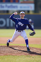 High Point Panthers starting pitcher Tyler Britton (4) in action against the UNCG Spartans at Willard Stadium on February 14, 2015 in High Point, North Carolina.  The Panthers defeated the Spartans 12-2.  (Brian Westerholt/Four Seam Images)