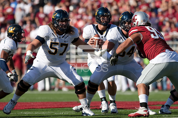 Brian Schwenke (57) protects the quarterback Brock Mansion (10) along with Chris Guarnero (54). The University of California football defeated Washington State University 20-13 at Martin Stadium in Pullman, Washington on November 6th, 2010.