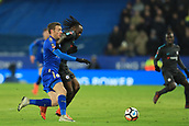 18th March 2018, King Power Stadium, Leicester, England; FA Cup football, quarter final, Leicester City versus Chelsea; Jamie Vardy of Leicester City battles with Victor Moses of Chelsea