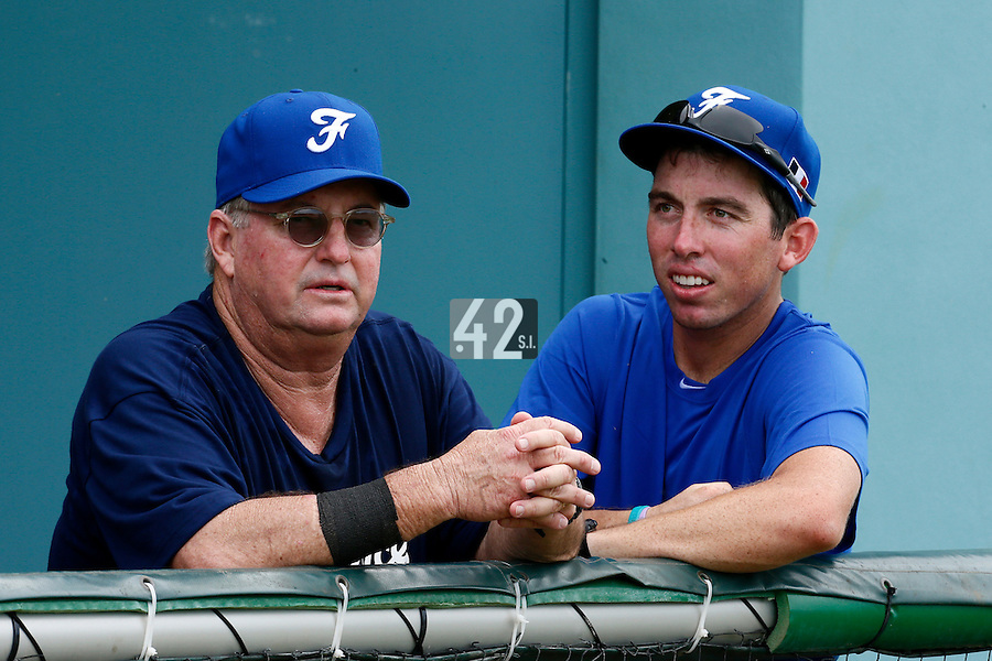 19 September 2012: Team Manager Jim Stoeckel is seen next to Jeff Stoeckel prior to Team France friendly game won 6-3 against Palm Beach State College, during the 2012 World Baseball Classic Qualifier round, in Lake Worth, Florida, USA.