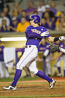 LSU Tigers second baseman Jared Foster (17) follows through on his swing during a Southeastern Conference baseball game against the Texas A&M Aggies on April 24, 2015 at Alex Box Stadium in Baton Rouge, Louisiana. LSU defeated Texas A&M 9-6. (Andrew Woolley/Four Seam Images)
