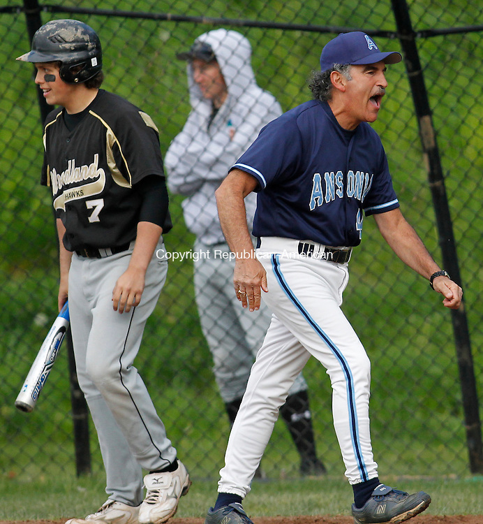 Beacon Falls, CT-04, May 2010-050410CM07 Ansonia head coach Michael Vacca isn't happy with a call with the home plate umpire following a Woodland run, Tuesday afternoon in Beacon Falls.  --Christopher Massa Republican-American