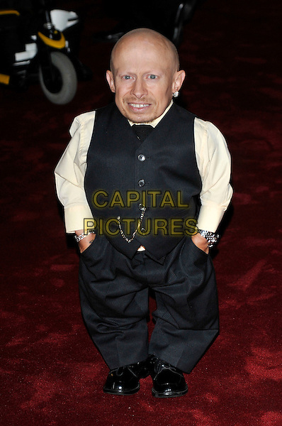 """VERNE TROYER .Attending the UK film premiere of """"The Imaginarium Of Doctor Parnassus"""" at the Empire Leicester Square cinema, London, England, UK, October 6th 2009..full length black grey gray waistcoat shirt tie trousers hand sin pockets pale yellow .CAP/PL.©Phil Loftus/Capital Pictures."""