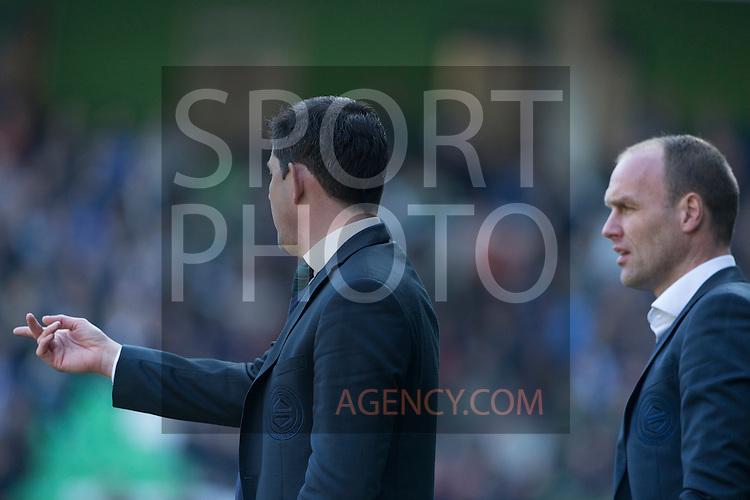 (L-R), trainer Erwin van de Looi of FC Groningen, assistent-trainer Dick Lukkien of FC Groningen,