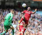 Ederson of Manchester City collides with Sadio Mane of Liverpool lduring the premier league match at the Etihad Stadium, Manchester. Picture date 9th September 2017. Picture credit should read: David Klein/Sportimage