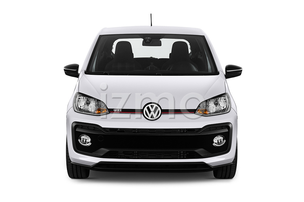 Car photography straight front view of a 2018 Volkswagen UP GTi 3 Door Hatchback