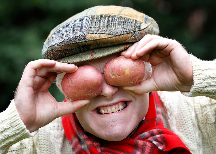 "No Repro Fee...Spudtastic Comedians Call on Irish to ?Save the Irish Spud?..Irish comedian Pat McDonnell Aka ""Spud O'Brien"" of RTE's Savage Eye fame who got into the spirit of the spud as they were on hand to highlight a strawpoll survey conducted by Wilson's Country Potatoes which indicates Irish people now consume spuds only 2.5 times a week as part of their main meal. 47% of people also voted comedian and presenter Dara O'Briain as Ireland's biggest celebrity spud head in light of National Potato Day this Thursday www.wilsonscountry.com. Pic. Robbie Reynolds/CPR"