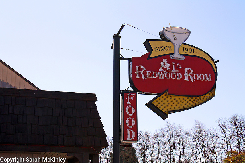 The sign for Al's Redwood Room in downtown Willits in Mendocino County in Northern California.