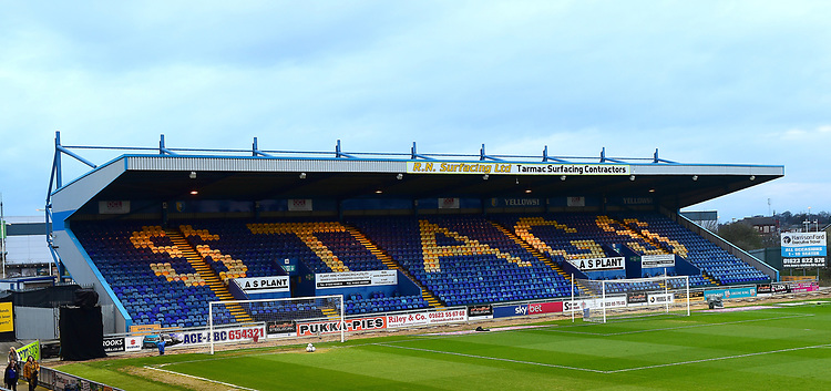 A general view of Field Mill, home of Mansfield Town FC<br /> <br /> Photographer Andrew Vaughan/CameraSport<br /> <br /> The EFL Sky Bet League Two - Mansfield Town v Lincoln City - Monday 18th March 2019 - Field Mill - Mansfield<br /> <br /> World Copyright © 2019 CameraSport. All rights reserved. 43 Linden Ave. Countesthorpe. Leicester. England. LE8 5PG - Tel: +44 (0) 116 277 4147 - admin@camerasport.com - www.camerasport.com