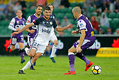 25th March 2018, nib Stadium, Perth, Australia; A League football, Perth Glory versus Melbourne Victory; Terry Antonis from Melbourne Victory weaves past Shane Lowry of the Perth Glory in the box during the second half
