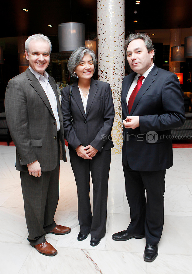 *** NO FEE PIC***.09/11/2011.(L to r) .Colm O Gorman Executive Director, Amnesty International Ireland,.Kyung- Wha Kang, Deputy High Commisioner for Human Rights, Office of the UN High Commisioner for Human Rights &.Mark Kelly Director, Irish Council for Civil Liberties.during an Amnesty International Ireland & the Irish Council for Civil Liberties Information evening on the 'Dublin Process' of Treaty Body Reform at the Radisson Blu Royal Hotel, Golden Lane, Dublin..Photo: Gareth Chaney Collins